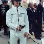 Guy wearing white KLM zip overall and Virtual reality headset demonstrating VR at Cebit Hannover Messe 1994esse 1994