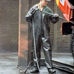 Truck Washers, wearing dirty green waterproof PVC coveralls 12