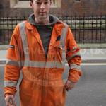Welder lad wearing Orange Hi-vis Nexus Zero Flame Welding Coveralls 2