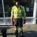 Workman Wearing Hi-vis Yellow Grey Phoenix-fr Coverall
