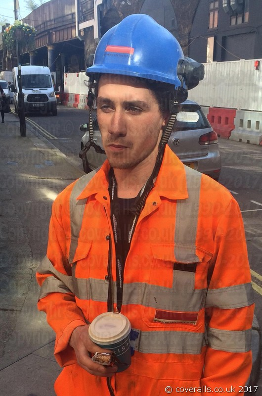 Young Lad Scaffolder. Young Lad Scaffolder wearing Arco Hi-vis Orange Coverall 3
