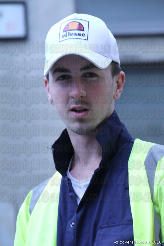 Young Lad Wearing Cap and Blue Hi-vis Boilersuit 1