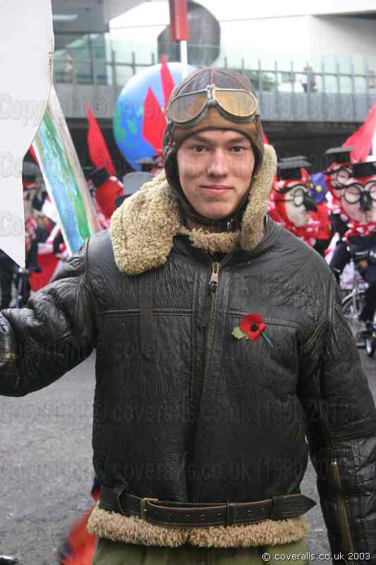 Young Lad Wearing Olive Green Flightsuit and Flying Jacket at Lord Mayors Show. Young Lad Wearing Flyingsuit 2